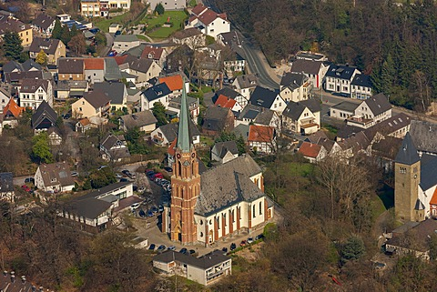 Aerial view, city centre with the church, Froendenberg Ruhr, Ruhr area, North Rhine-Westphalia, Germany, Europe