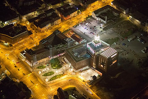 "Aerial view, Dortmund ""U"", landmark, centre for Art and Creativity, Extraschicht 2012, annual cultural event, Dortmund, Ruhr Area, North Rhine-Westphalia, Germany, Europe"