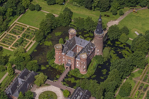 Aerial view, Schloss Moyland Caslte, neo-Gothic style, Bedburg-Hau, Lower Rhine region, North Rhine-Westphalia, Germany, Europe