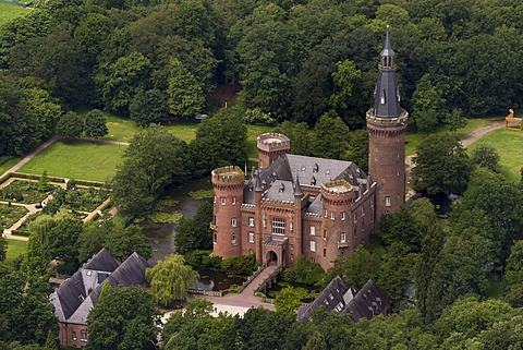 Aerial view, Moyland Castle, a neo-Gothic style moated castle, Bedburg-Hau, Lower Rhine region, North Rhine-Westphalia, Germany, Europe