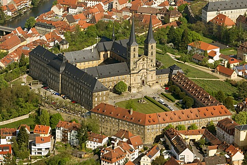 Aerial view, Michaelskirche Church, Bamberg, Upper Franconia, Bavaria, Germany, Europe