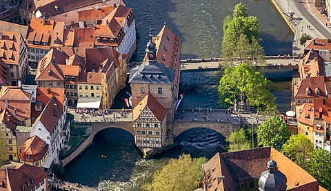 Aerial view, old town hall, Main river, Bamberg, Upper Franconia, Bavaria, Germany, Europe