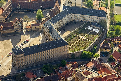 Aerial view, rose garden of Neue Residenz castle, Bamberg, Upper Franconia, Bavaria, Germany, Europe