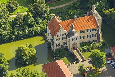 Aerial view, Haus Dellwig mansion, a local museum, moated castle, Dortmund, Ruhr area, North Rhine-Westphalia, Germany, Europe