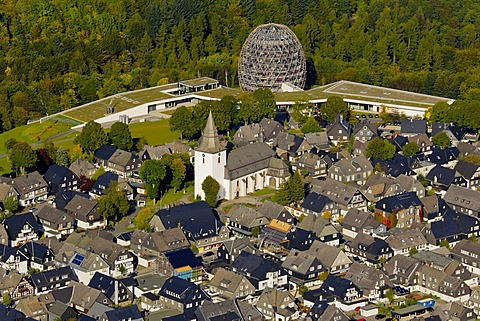 Aerial view, the tourist information centre and the Oversum Vital Resort, Winterberg, Sauerland region, North Rhine-Westphalia, Germany, Europe