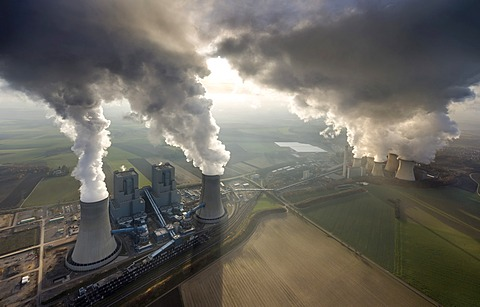 Aerial view, Frimmersdorf Power Station, RWE, Neurath Power Station, Grevenbroich, North Rhine-Westphalia, Germany