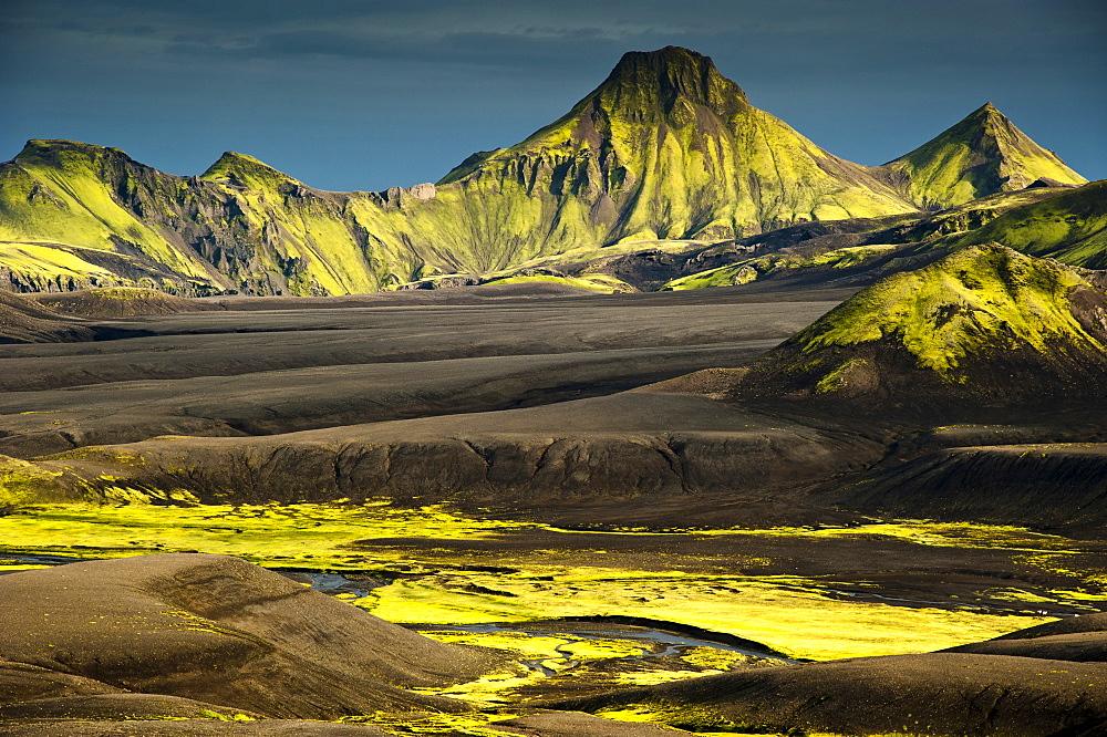 Moss-covered mountains, landscape surrounding Lake Langisjor, Highlands, Iceland, Europe