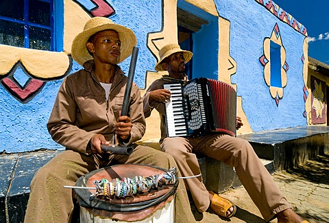 Traditional musicians playing an accordion and a drum, Basotho Cultural Village, Golden Gate National Park, Free State, South Africa, Africa