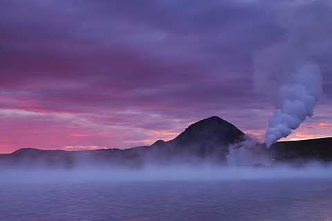 Geothermal plant near M√Ωvatn at sunset, Nor√∞urland eystra, Nordurland, Northeast Iceland, Iceland, Europe