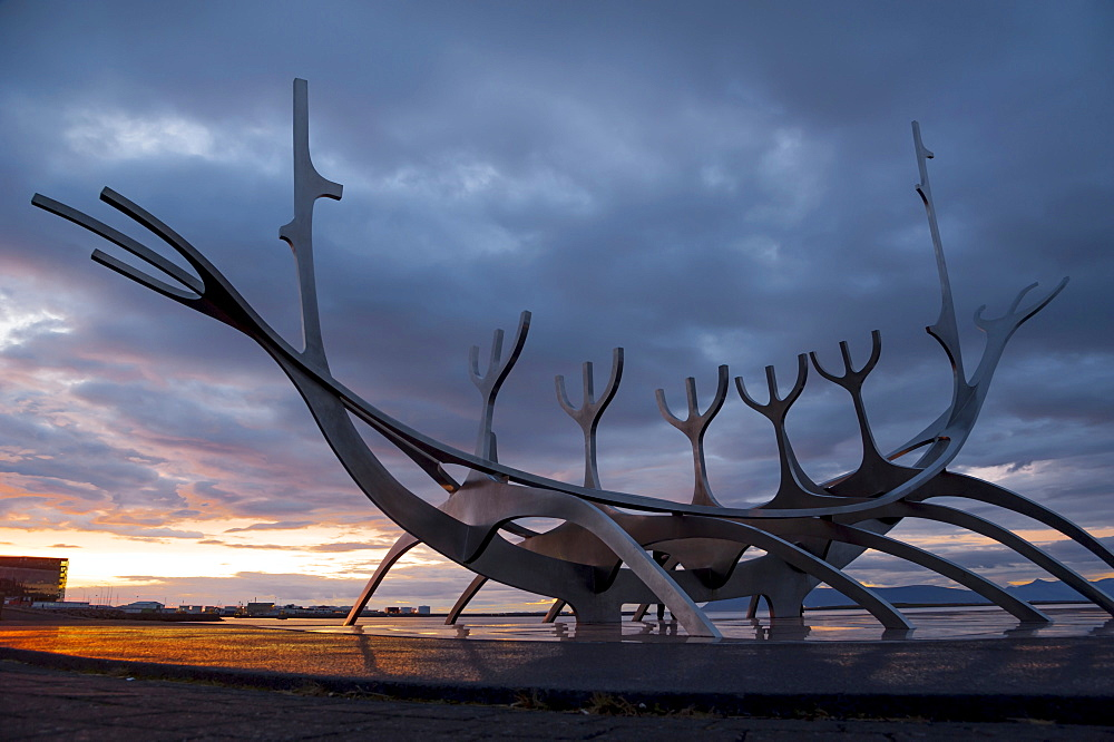 Viking ship sculpture, memorial to Sólfar, the Sun Voyager, Reykjavik, Iceland, Europe