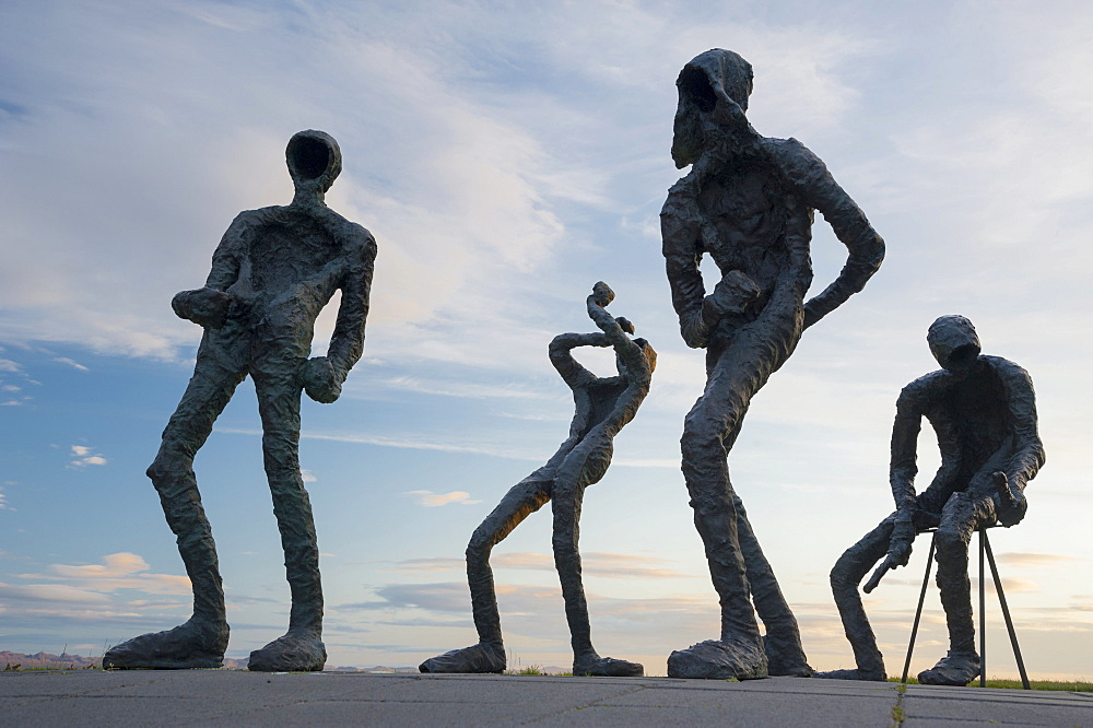 Dansleikur, sculpture with dancers by Torbjorg Palsdottir at the Perlan building, Reykjavik, Iceland, Europe