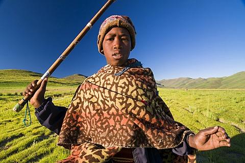 Young Basotho man wearing a traditional costume, shepherd, portrait, Drakensberg, Kingdom of Lesotho, southern Africa
