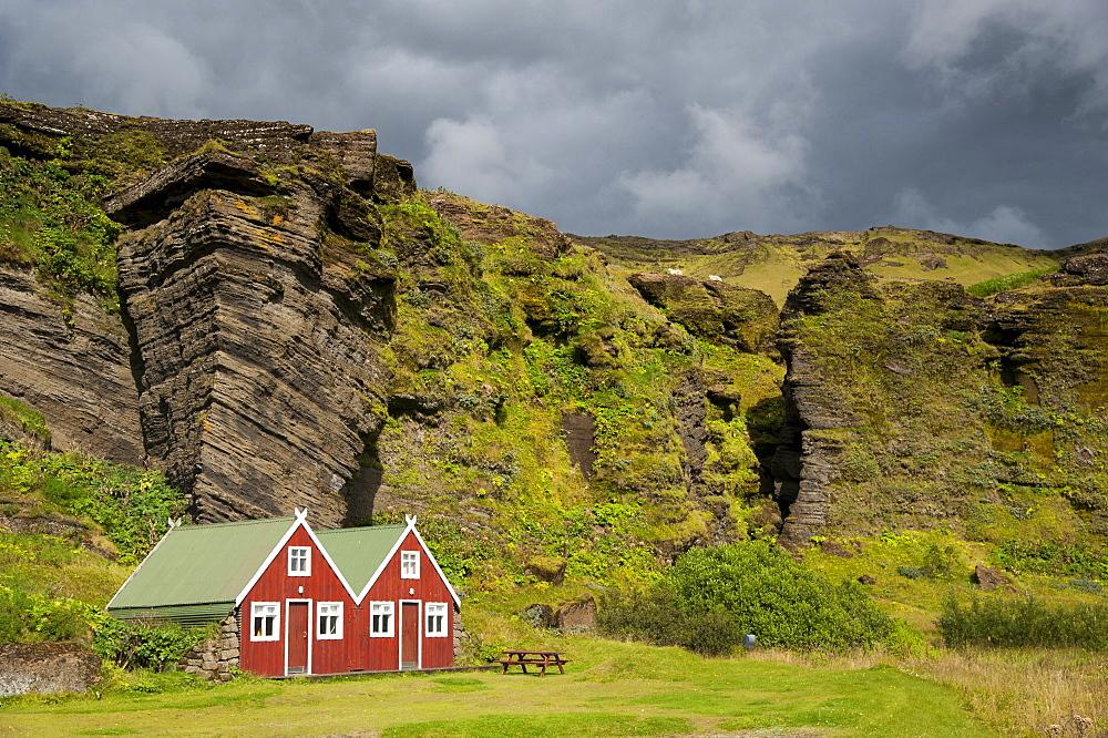 Holiday homes, Edda Hotel, village of Vik i Myrdal, South Coast, Iceland, Europe