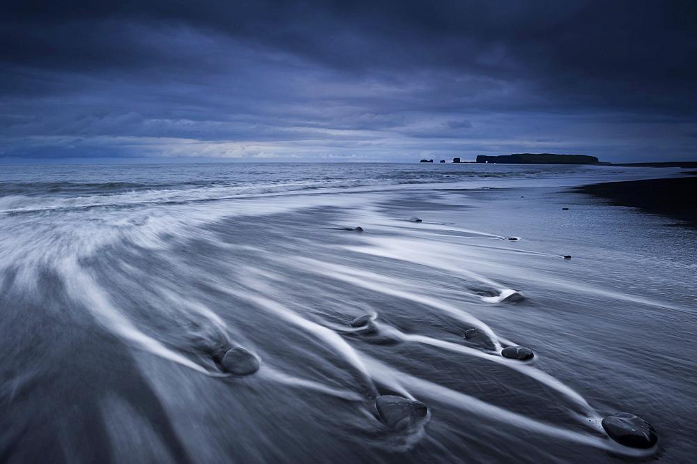 Rock arch, Dyrholaey peninsula, black sandy beach near Vik i Myrdal, southern coast, Iceland, Europe
