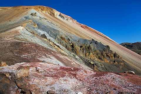 Mineral field, iron deposits, Brennisteinsalda volcano with the Laugahraun lava field, rhyolite mountains, Landmannalaugar, Fjallabak Nature Reserve, Highlands, Iceland, Europe - 832-368314