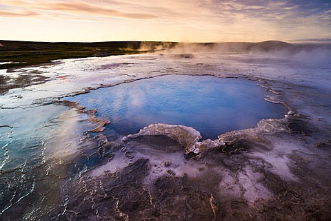 Blue water pool, Bl√°hver hot spring, Hveravellir high-temperature or geothermal region, Highlands, Iceland, Europe