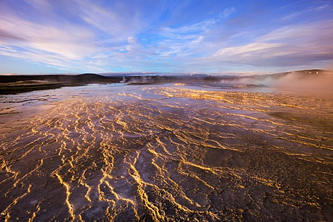 Sinter terraces, Hveravellir high-temperature or geothermal region, Highlands, Iceland, Europe