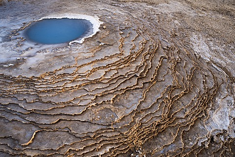 Hot spring, sinter terraces, Hveravellir high-temperature or geothermal region, Highlands, Iceland, Europe