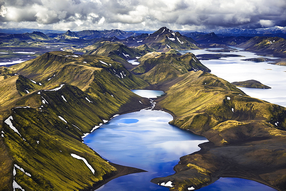 Aerial view, Lake Langisjór, moss-covered mountains, Icelandic Highlands, Iceland, Europe - 832-368321