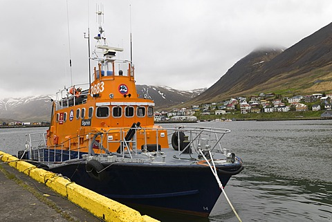 Rescue boat, Siglufjoerdur, Iceland, Northern Europe, Europe
