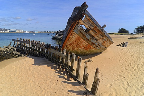 Wreck of an old wooden ship at the banks of river Étel, southern Brittany, Bretagne, France, Europe