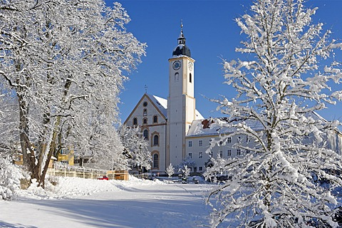 Parish church of the Assumption of Mary, Mariae Himmelfahrt, Dietramszell, Upper Bavaria, Bavaria, Germany, Europe