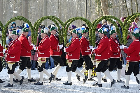 Schaefflertanz, traditional dance of the coopers, Flaucher area, Munich, Upper Bavaria, Germany, Europe