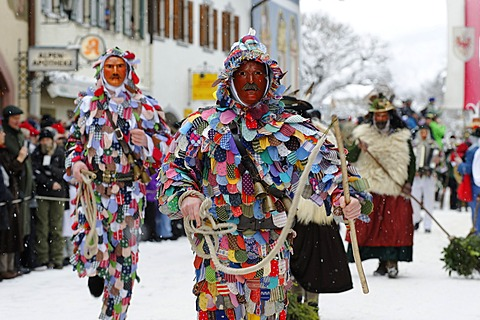 Men dressed in traditional carnival costumes, carnival parade, Maschkera, Mittenwald, Werdenfelser Land, Upper Bavaria, Germany, Europe