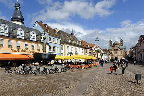 Speyer Cathedral, UNESCO World Heritage Site, with Maximilianstrasse, main street, Speyer, Rhineland-Palatinate, Germany, Europe