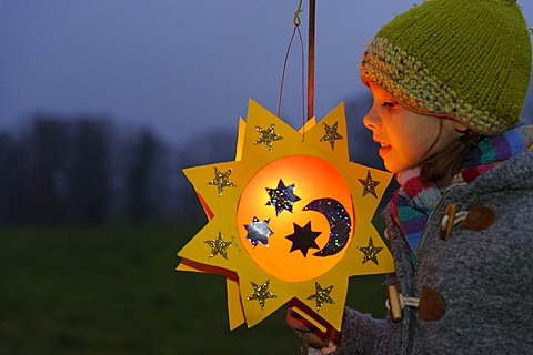 Girl with a lantern at a St. Martin's parade, lantern procession, St. Martin's Day, Pfaffenwinkel, Bavaria, Germany, Europe