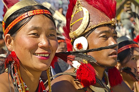 People of the Phom tribe at the annual Hornbill Festival in Kohima, India, Asia