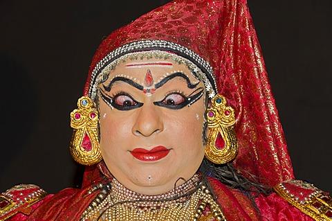 The Kathakali character Nakrathundi, Varkala, Kerala, India, Asia