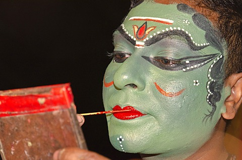 The make-up of the Kathakali character Kathalastri is being applied, Perattil, Kerala, India, Asia - 832-368733