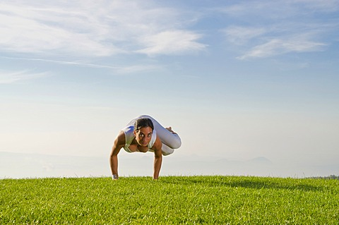 Young woman practising Hatha yoga outdoors, showing the pose parshva kakasana, parshva bakasana, sideward crow pose, sideward crane pose, Nove Mesto, Okres Teplice, Czech Republic, Europe