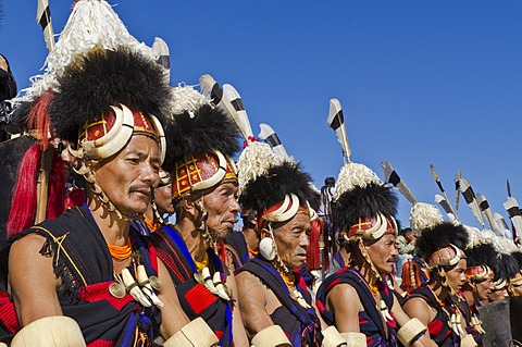 Konyak warriors fully decorated at Hornbill Festival, Kohima, India, Asia
