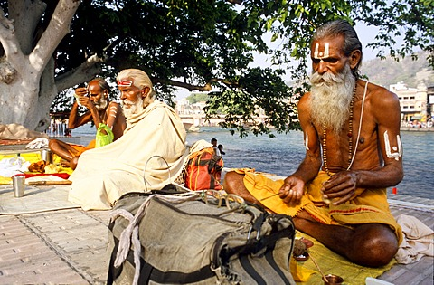 A small group of Sadhus doing their morning pooja at the ghats along the river Ganges in Haridwar, Uttarakhand, formerly Uttaranchal, India, Asia