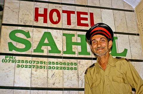 Doorman of Hotel Sahel, Ahmedabad, India, Asia