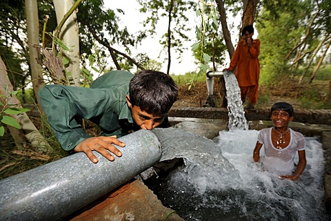 Children cooling off at the catchment of a spring that is fed by water pipes, Basti Lehar Walla village, Punjab, Pakistan, Asia