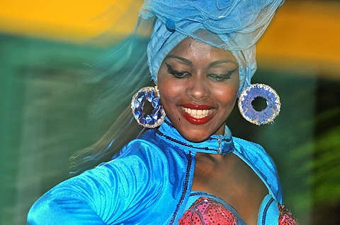 Dancer at a dance performance, Trinidad, Cuba, Caribbean - 832-369142