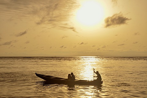 Excursion boat at sunset, near Kribi, Cameroon, Central Africa, Africa