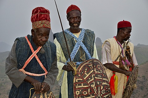 Folkloristic performance at the village of Rhumsiki, Cameroon, Central Africa, Africa