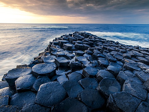 Basaltic rocks, headland with the Atlantic Ocean, Giant's Causeway, Coleraine, Northern Ireland, United Kingdom, Europe