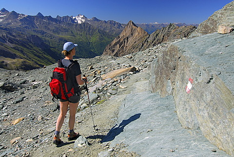 Hiking woman, National Park Hohe Tauern, Tyrol, Austria