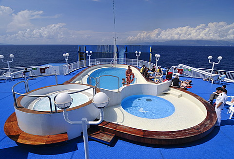 Swimming pool on the sun deck of a car ferry, sailing between Italy and Greece, Minoan Lines, Mediterranean, Europe