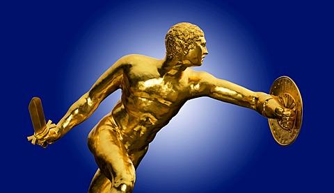 Greek warrior, gilded statue, sculpture, Herrenhausen Gardens, Hannover, Lower Saxony, Germany, Europe