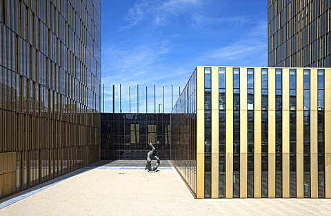 Entrance to the office towers of the European Court of Justice, ECJ, European quarter, Kirchberg plateau, Luxembourg City, Europe, PublicGround