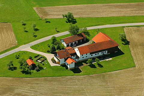 Farm between fields, Bavaria, Germany