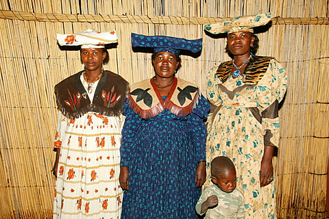 Women wearing traditional dress, Sehitwa, Botswana, Africa