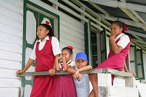 Schoolchildren during recess, Arawak natives, Santa Mission, Guyana, South America