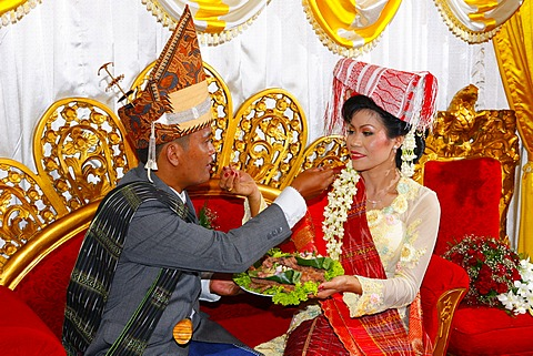 Bride and groom, traditional mutual feeding, wedding ceremony, Siantar, Batak region, Sumatra, Indonesia, Asia